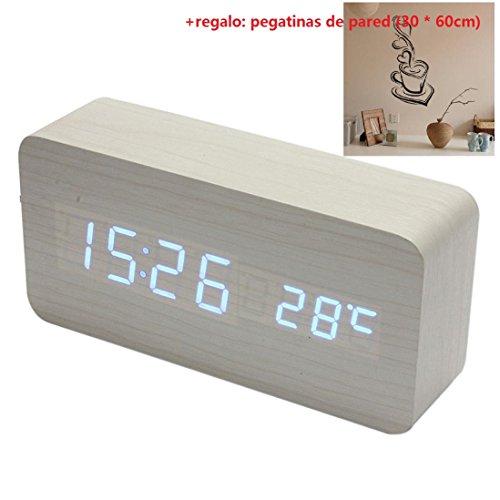 Malloom® madera temperatura Suena control Escritorio electrónica LED reloj despertador digital (blanco y azul