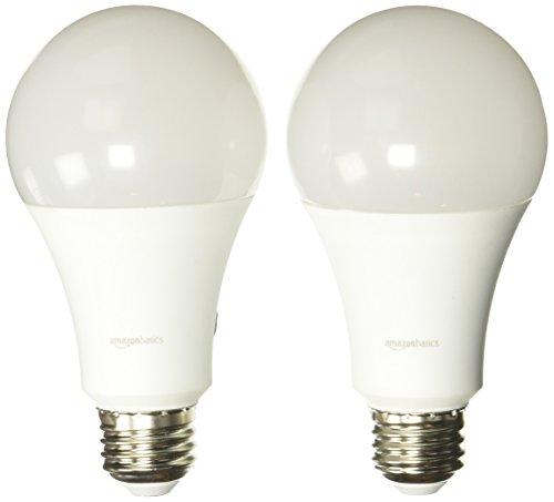 AmazonBasics 100 Watt Equivalent, Soft White, Non-Dimmable, A21 LED Light Bulb - 2-Pack