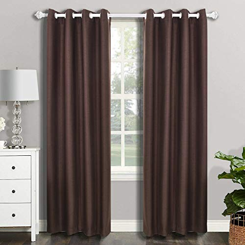 CSOFT Blackout Thermal Insulated Window Curtains(Valance) with Grommets top Darkening Drapes for Bedroom Living Room (2 Panels,52WX 63L Inch, Brown or Chocolate ()
