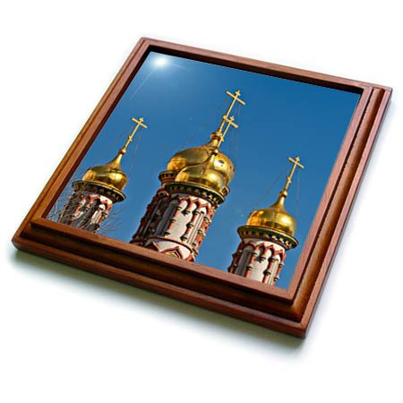 3dRose Alexis Photography - Architecture - Golden domes and crosses of an ancient Russian church, blue sky - 8x8 Trivet with 6x6 ceramic tile (trv_286559_1) ()