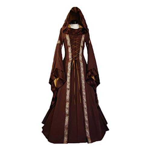 Abito Vittoriano Retrò Festa Maniche Medievale Rinascimentale Costume Costume Brown 1 Halloween Lungo Lunghe per Donna Costume Donne q7vEnxww8