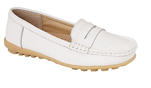 Jo & Joe Womens Ladies Loafer Shoes Leather Driving Comfortable Flats Summer Deck Size 3 4 5 6 7 8 White EBk7UQuN