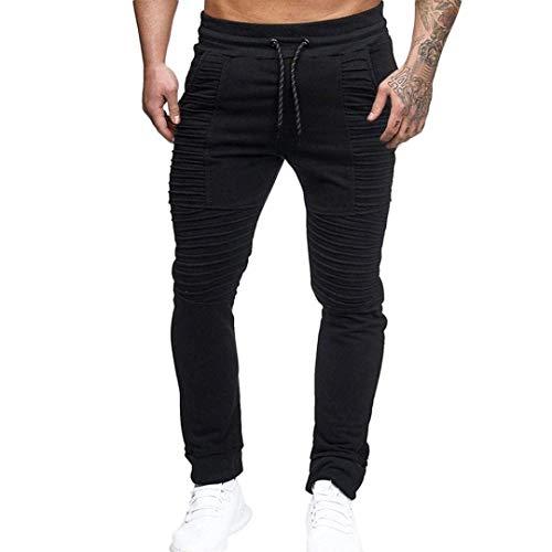 Pants Fit Chino Sport Tasche Uomo Pantaloni Da Semplice Casual Slim Long Sportivi Coulisse Con Nero Stile vm8nw0NO