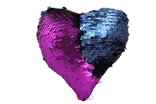 The Original Fidget Magic Flip Sequin Toypillow  Magenta   Navy Heart  Fidget Toy For Relaxing Therapy Increase Focus For Adults And Children Helps With Stress Adhd Add Autism By Little Monkey 10H