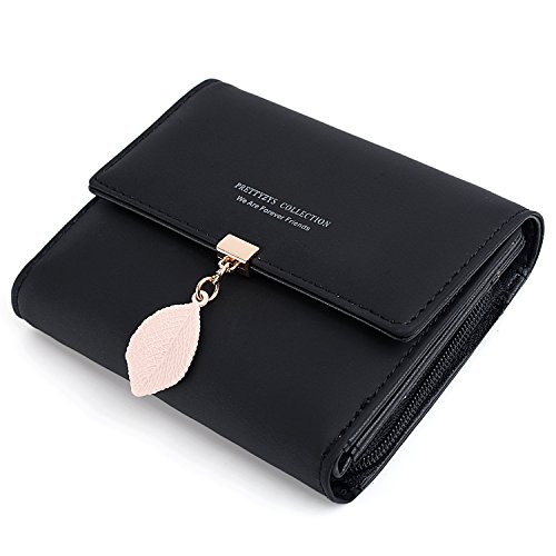 UTO Small Wallet for Women PU Leather Leaf Pendant Card Holder Organizer Zipper Coin Purse A Black