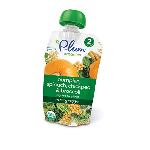 Plum Organics Baby Stage 2 Food, Hearty Veggie, Pumpkin, Spinach, Chickpea and Broccoli, 3.5 Ounce (Pack of 6)