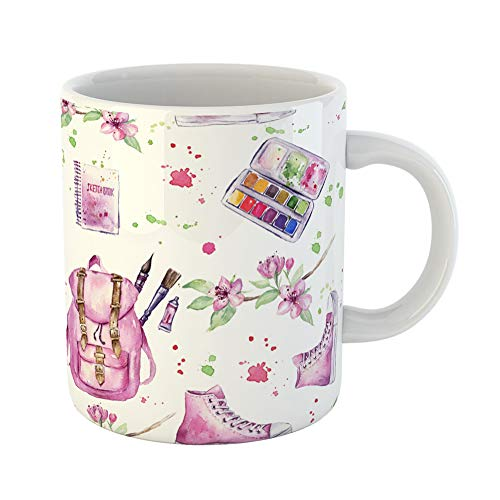 (Emvency Coffee Tea Mug Gift 11 Ounces Funny Ceramic Tools Pattern of Watercolor Paint Paintbox Sketchbook Backpack Beautiful Gifts For Family Friends Coworkers Boss Mug)