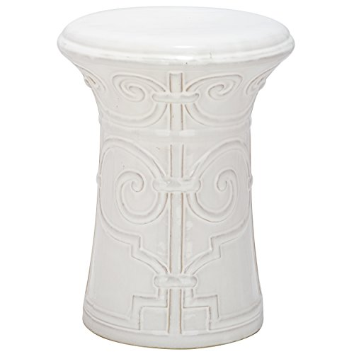 Safavieh Castle Gardens Collection Imperial Garden White Ceramic Garden Stool (Stool Garden Ceramic White)