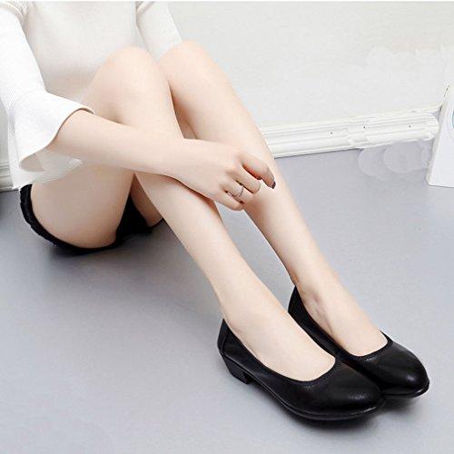 Dames Casual Instappers Comfort Slip-on Puntschoen Blok Mid-teenjurk Pumps Wandelende Loafer Schoenen Zwart
