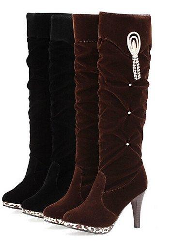 Uk4 Brown us8 us6 Eu39 Semicuero Uk6 Stiletto Comfort Xzz Casual Cn36 Negro Vestido Mujer Tacón Botas De Zapatos Eu36 Cn39 Marrón Brown wnq7fR
