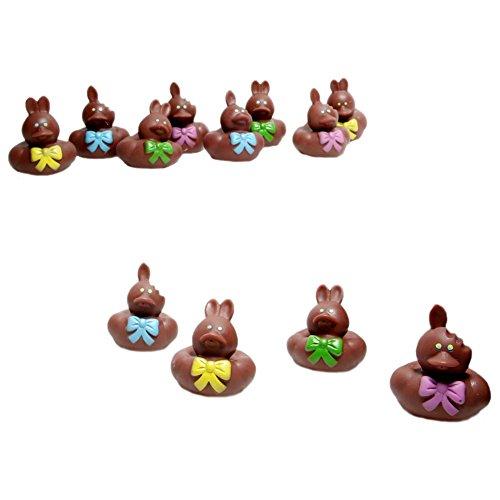 Vinyl Chocolate Easter Bunny Rubber Duckies, 12-Piece