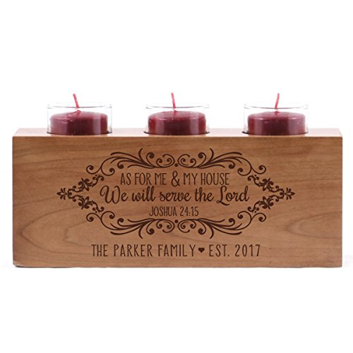 Lord Glass Candle Holder - Personalized As for me and my House wedding anniversary family candle holder custom engraved cherry wood keepsake ideas for Loved One 10