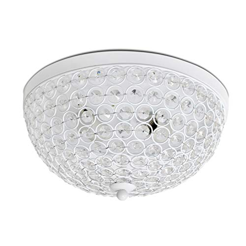 Elegant Designs FM1000-WHT 2 Elipse Crystal Flush Mount Ceiling Light Flushmount, ()
