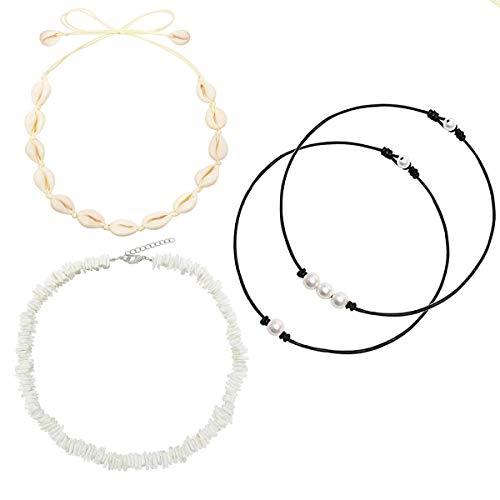 Dremcoue Natural Shell Choker Necklace Handmade Hawaii Beach Choker Adjustable Necklace for Women Girls