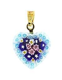 GlassOfVenice Murano Glass Millefiori Heart Pendant - Gold #4