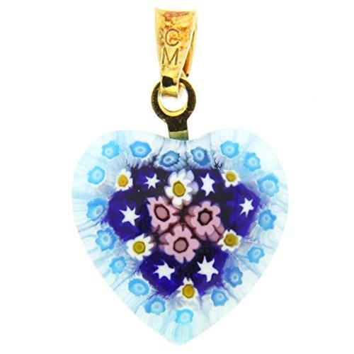 Millefiori Glass Pendant - GlassOfVenice Murano Glass Millefiori Heart Pendant - Gold #4