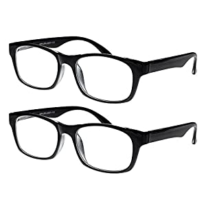 Reading Glasses, Prescription Eyeglasses For Men, Two Pack of Fashion Readers in Black, 350, By Optiplix