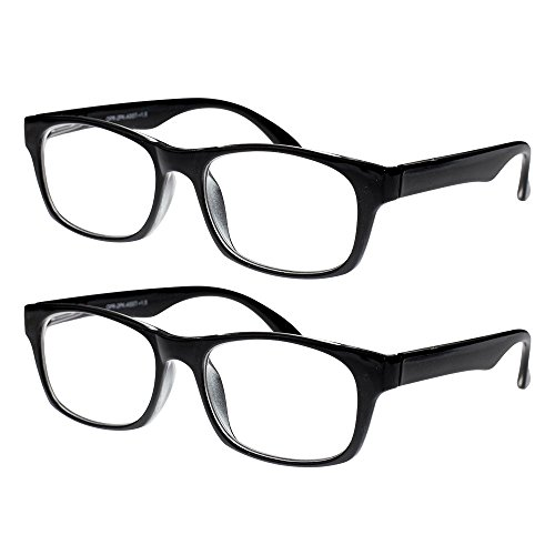 Reading Glasses, Prescription Eyeglasses For Men, Two Pack of Fashion Readers in Black, 150 By Optiplix ()
