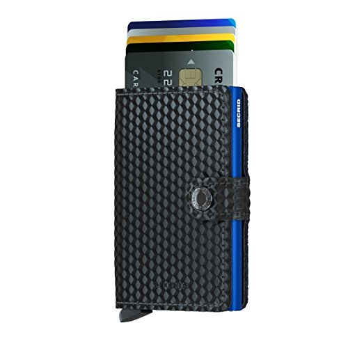 SECRID - Secrid Men's Mini wallet Genuine Leather Cubic Black With Blue RFID Safe Card Case for max 12 cards (Cubic)