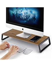 AboveTEK Monitor Stand Riser with Metal Feet for Computer Laptop iMac TV LCD Display Printer, Computer Riser with Desk Table Top Organizer 20 x 9.45inch Sturdy Platform Save Space-Walnut