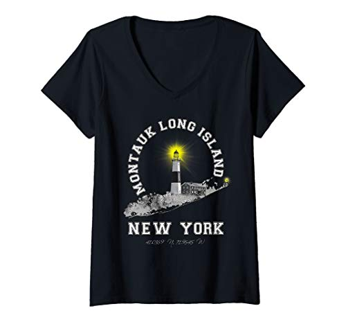 Womens Montauk Lighthouse Long Island New York Varsity Letter V-Neck T-Shirt