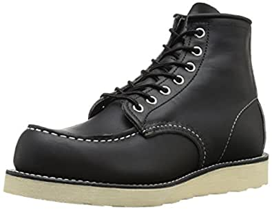 "Red Wing Shoes Men's 6"" Classic Moc Boot,Black ,7 D(M) US"