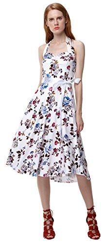 u-shot da donna floreale svasato 40S 50s Rockabilly vintage vestito da damigella d' onore abito da cocktail Patry Halter A-Line Pinup