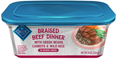 Blue Buffalo Braised Beef Dinner Natural Adult Wet Dog Food Tub, Beef with Green Beans, Carrots & Wild Rice 8-oz (Pack of 8) (Rachel Ray Green Bean Stew)