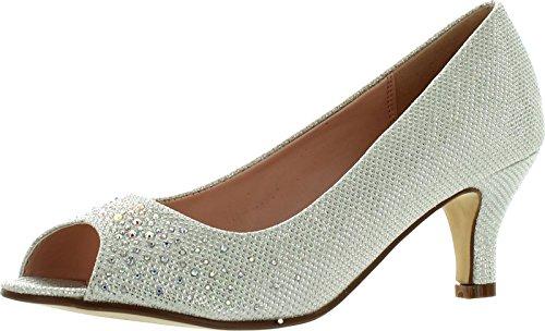 Bonnibel Wonda-2 Womens Peep Toe Low Heel Glitter Slip On Dress Pumps,White,8.5