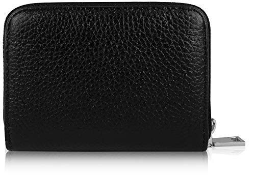 (PRIME Best Rfid Blocking Genuine Leather Zipper Wallet Secure for Men & Women Top Stainless Steel Metal Slim Credit Cards Business Minimalist Holds 12 Thin Front Pocket High-grade Card Holder Case)