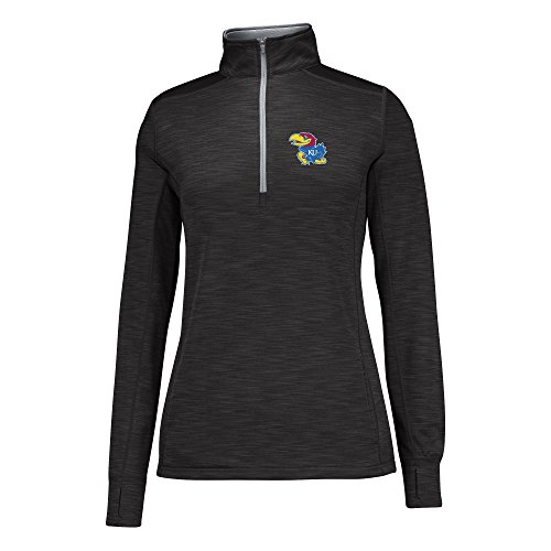 J America NCAA Kansas Jayhawks Women's Courtside Poly Fleece 1/2 Zip Sweater, Small, Black/Cement