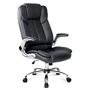 Artiss Executive Office Chair with Padded PU Leather High Back Adjustable Height-Black
