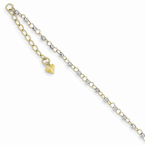 14K-Yellow-And-White-Gold-Two-tone-Circle-Chain-w-Mirror-Beads-w-1in-Ext-Anklet