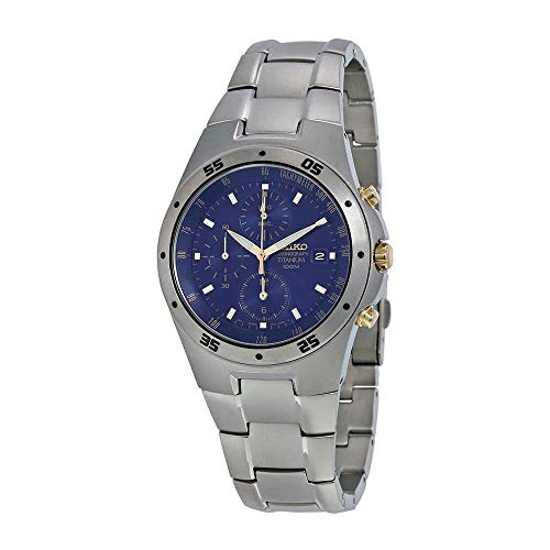 (Seiko SND449P1 Men's Two Tone Titanium Chronograph Blue Dial)