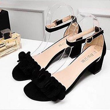 LvYuan Mujer-Tacón Robusto-Confort-Sandalias-Vestido Informal-PU-Negro Rosa Gris Black