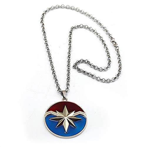 Avengers 4 Captain Marvel Necklace Star Logo Pendant with Leather Chain Movie Cosplay Jewelry (02)