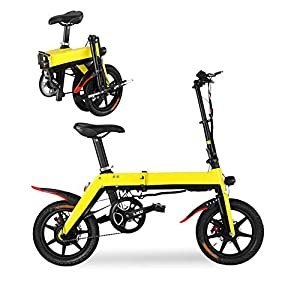HXL Folding Electric Bike for Adults 12 Inch Electric Bicycle Commute Ebike with 250w Motor 36v 5ah Lithium Battery Aluminum Frame Dual Disc Brake,Yellow,8AH 50KM