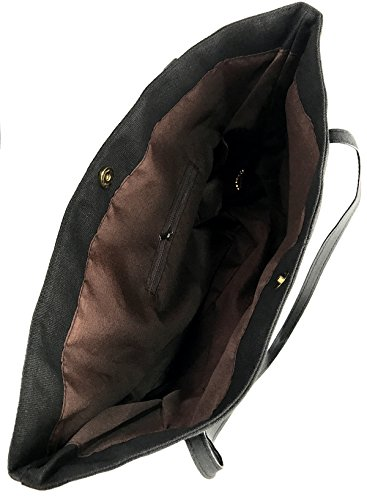 Canvas Handbag Tote Women's Shoulder Bag Tote Hobo Love Fuck Black Large Messenger qIIdCwT