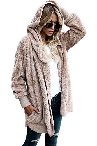 Women Hooded Cardigan Fuzzy Jacket Winter Open Front Fleece Coat Outwear with Pockets Apricot M