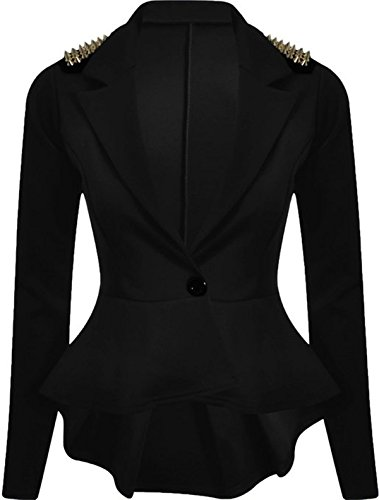 Button Frill (FashionMark Womens Spikes Studded Crop Peplum Frill Button Blazer Jacket Coat)