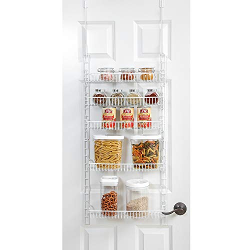 (Smart Design Over The Door Adjustable Pantry Organizer Rack w/ 5 Adjustable Shelves - Small 51 Inch - Steel Construction w/ Hooks & Screws - for Cans, Food, Misc. Item - Kitchen [White])