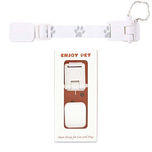 Door Strap for Pets, Cat Doors for Interior Doors, Dog Door for French Doors, Easily Pass for Cat & Keep Dog Out, No More Pet Gate/Cat Door, Kitty Litter Box Dog Proof Adjustable Door Latch