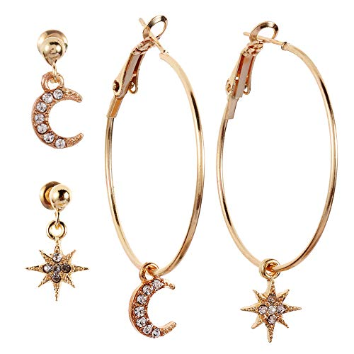 Double Star Dangle Earrings - Moon Star Dangle Hoop Earrings,Large Hoops with Crystals,Small Crystal Studs Bohemian Simple Jewelry for Women Girls Gift
