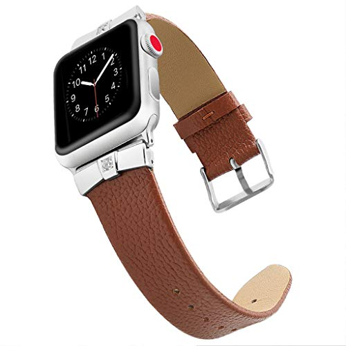 - Leather Bands Compatible Watch Band Slim Replacement Wristband Sport Strap for Iwatch, Edition Stainless Steel Buckle,MmNote(Brown)