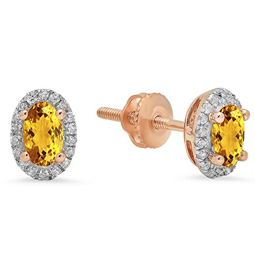 10K Rose Gold Oval Cut Citrine & Round White Diamond Ladies Halo Stud Earrings - Citrine Clip