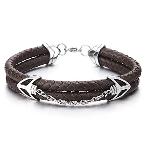 COOLSTEELANDBEYOND Men Women Steel Double Arrow Head Chain Link Bangle Bracelet Two-Row Brown Braided Leather Wristband
