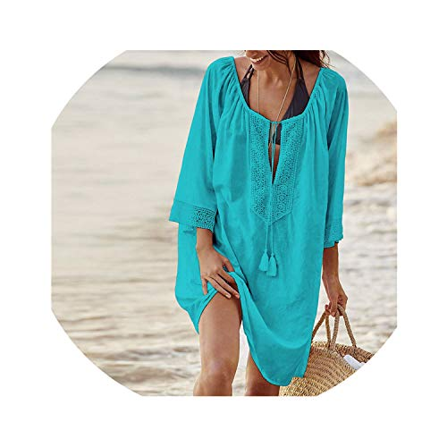 2019 Cotton Tunics for Beach Women Swimsuit Cover up Woman Swimwear Beach Cover up Beachwear Pareo Beach Dress Saida de Praia,Lake Blue,One Size (Best 2 Slice Toaster 2019)