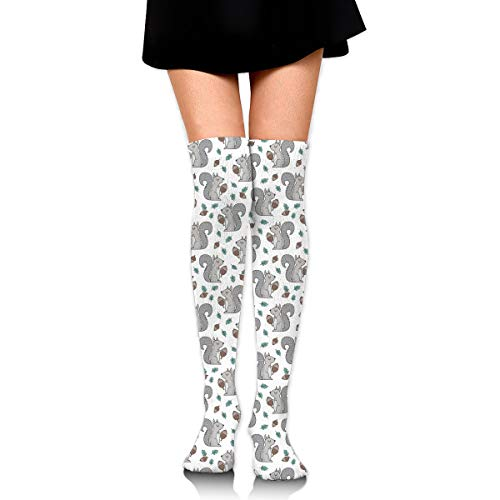 (Forest Squirrel Cones Gray Women's Knee High Socks Fancy Design, Best For Running, Athletic Sports,Yoga.)