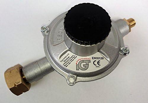 IGT IGT4KG/H Propano Gas regulador de presión de alta capacidad 30 mbar, 4 kg/h Botella Conector y 1/4 pulgadas rosca izquierda salida