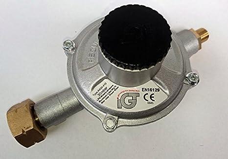 Propano Gas regulador de presión de alta capacidad 30mbar, 4kg/h Botella Conector y 1/4pulgadas rosca izquierda salida
